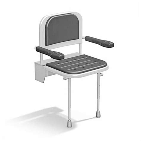 folding shower seat with legs padded seat back and arms jpg