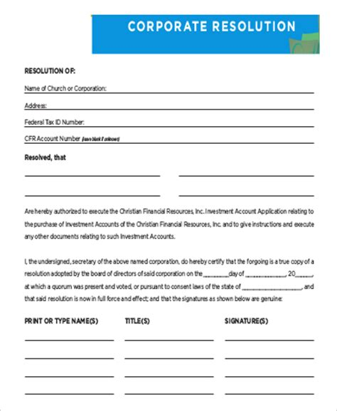 corporate resolution template 9 sle corporate resolution forms sle templates