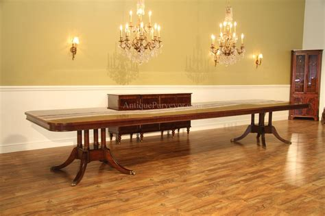 Long Large Double Pedestal Mahogany Dining Table W 2