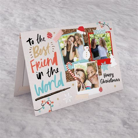 Good tidings and good cheer are brought with this christmas card! Photo Upload Christmas Card - Best Friend In The World | GettingPersonal.co.uk