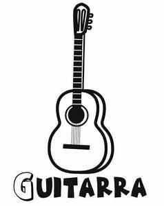 Dibujo de guitarra Imágenes de música para colorear