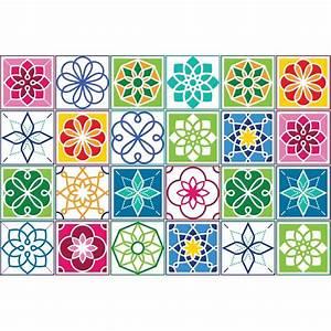 Stickers Carreaux De Ciment Cuisine : ambiance live 24 stickers carreaux de ciment multicolore ~ Melissatoandfro.com Idées de Décoration