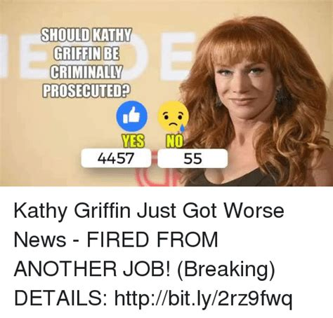 Kathy Griffin Memes - should kathy griffin be prosecuted yes no 4457 55 kathy griffin just got worse news fired from