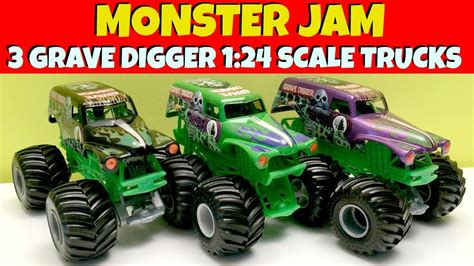 grave digger monster truck youtube 3 monster jam grave digger 1 24 scale trucks youtube