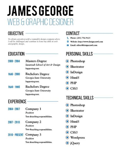 Free Resume Template Design by Free Resume Template Design Crawl