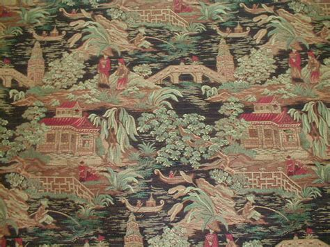 Oriental Toile Fabric, Chinese Red, Jonquil, Pagoda
