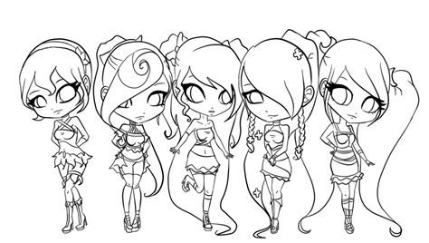 Chibi Group Lineart By Hate-incarnate On
