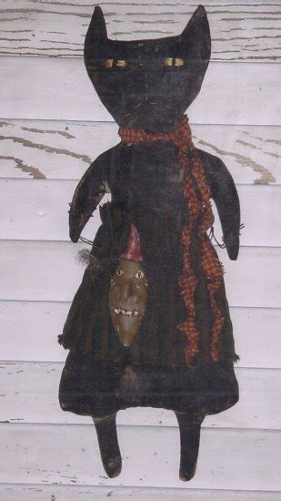 primitive folkart doll pattern halloween   cat head