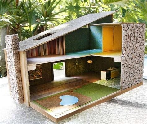 hand crafted mid century modern dollshouse       modular   packed