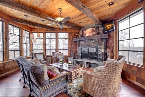 rustic  season room traditional porch