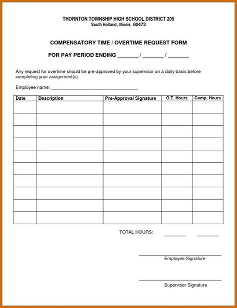 overtime form template imageresume
