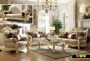 white livingroom furniture traditional living room set w pearl bonded leather and antique white carved wood