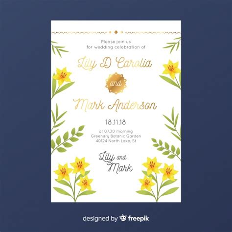 Floral wedding invitation template with golden design