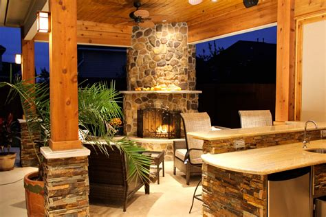 patio cover with fireplace kitchen in firethorne