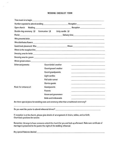 blank wedding checklist form