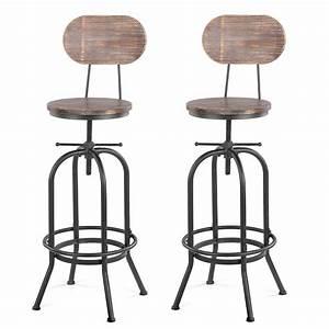 Chaise Bar Industriel : lot de 2 chaises de bar de style industriel ikayaa ~ Farleysfitness.com Idées de Décoration