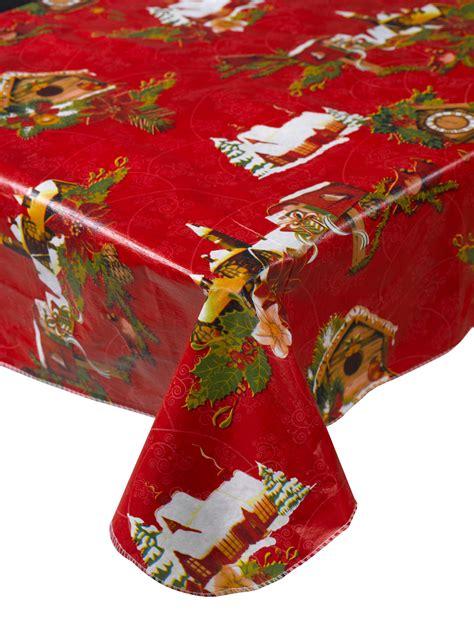 christmas tablecloth snowy xmas scene christmas pvc tablecloth festive flannelback home table linen ebay