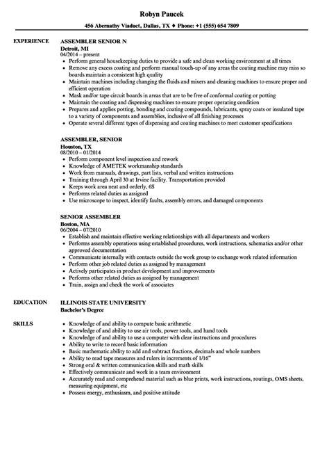 Assembler Description For Resume by Senior Assembler Resume Sles Velvet
