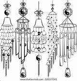 Chimes Wind Coloring Template Pages Sketch Templates Shutterstock sketch template