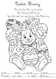 english worksheets easter bunny for young learners