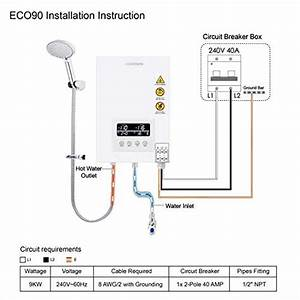 Tankless Water Heater Electric Ecotouch 9kw 240v On Demand