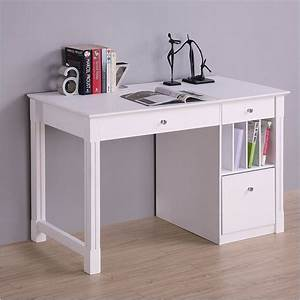 White Desk - Student Storage Desk w/Keyboard Tray