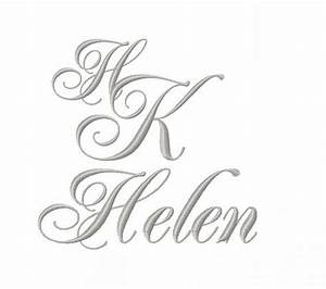 "2"" inch Formal Cursive Script Monogram Embroidery Font ..."