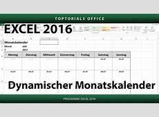 Dynamischen Monatskalender erstellen + Download Excel