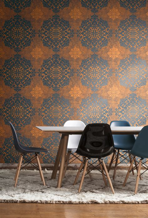 trendy blue  burnt orange lace medallion wallpaper