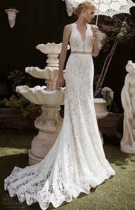fake two pieces sheath lace bridal gown deep v neck With deep v lace wedding dress