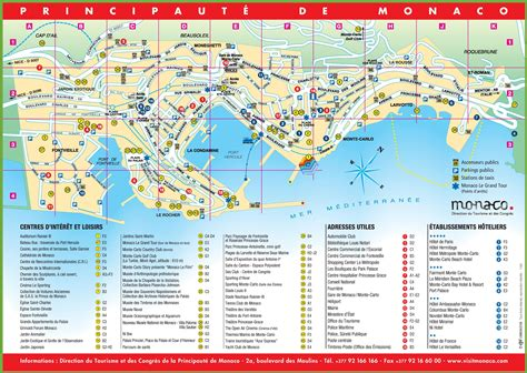 tourist map  monaco  sightseeings  hotels