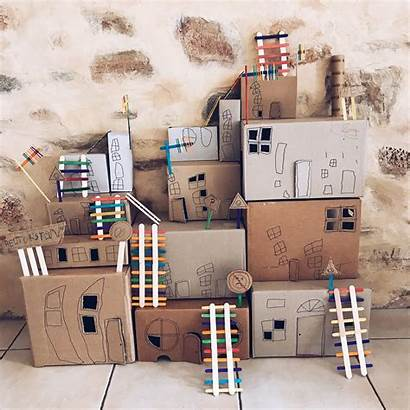 Cardboard Town Boxes Crafts Project Houses Basteln