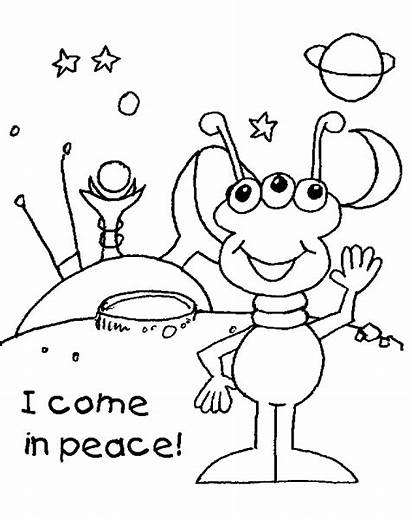 Alien Coloring Colouring Space Pages Printable Sheets