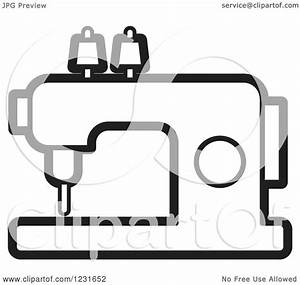Clipart of a Black and White Sewing Machine Icon - Royalty ...