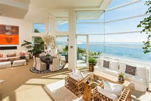 Beachy Living Room by Luxurious Masterfully Crafted Paradise Cove Beach House In