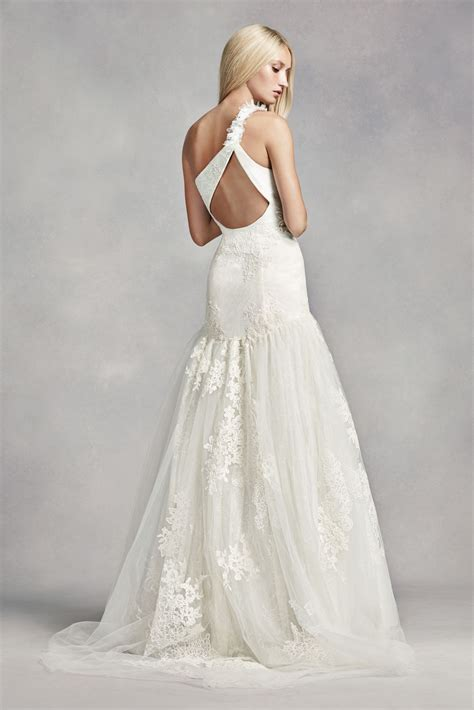 White By Vera Wang One Shoulder Lace Wedding Dress Style