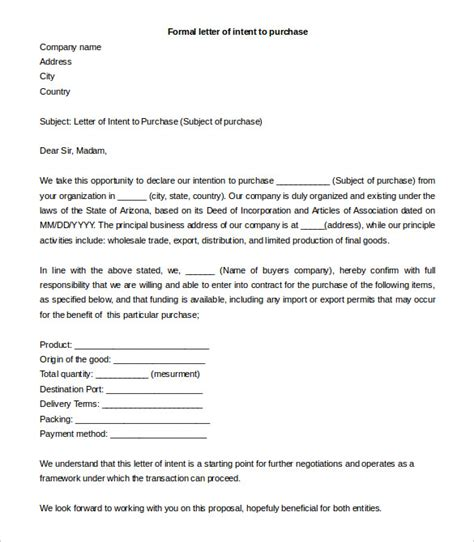letter of intent to purchase 27 simple letter of intent templates pdf doc free 9201