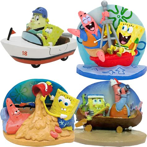 spongebob patrick doing things aquarium ornament set