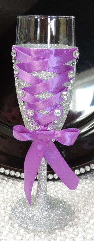 corset wine chagne flute glass silver glitter with
