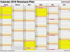Kalender 2018 RheinlandPfalz Ferien, Feiertage, Excel