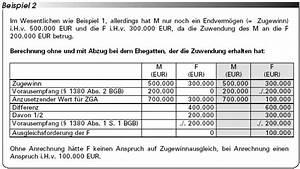 Rz Berechnen : zugewinnausgleich anrechnung unbenannter zuwendungen bei beendigung ~ Themetempest.com Abrechnung