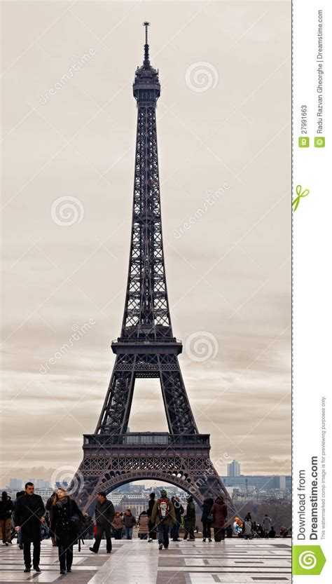 eiffel tower   cloudy winter day editorial stock photo