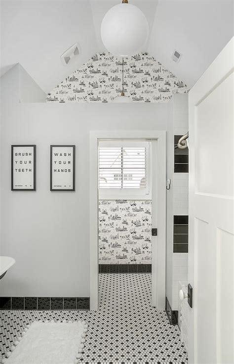 white bathroom tiles  black grout contemporary