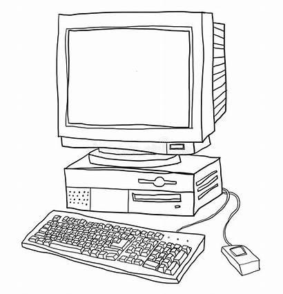 Computer Line Desktop Illustrazione Laptop Vecchio Arte