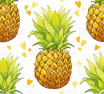 Pineapple Texture Drawn Doodle Seamless Pattern Ananas