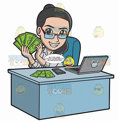 Money Making Happy Woman Clipart Cartoons Vectortoons