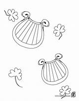 Irish Harp Coloring Pages Patrick Symbol Print St Hellokids sketch template