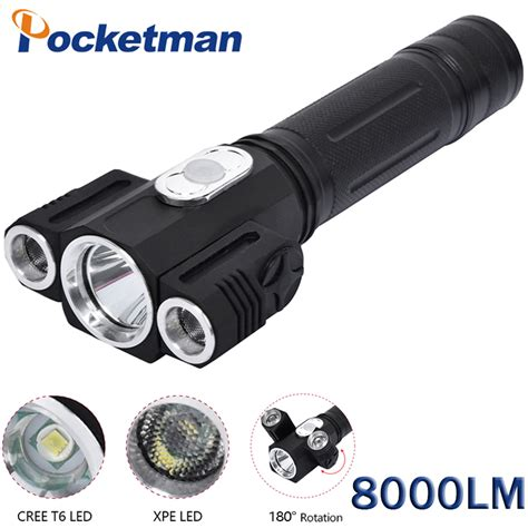 8000 lumens lanterna tatica le torche led flashlight torch lanterna led 3leds cree rotating