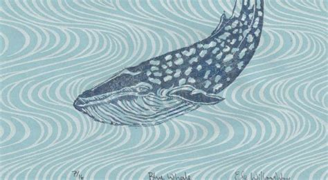 blue whale linocut  wave pattern japanese paper