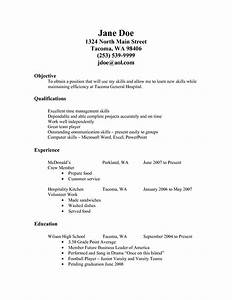 College Student Resume Objective Sample Resume For Fastfood Fast Food Resume Examples Job